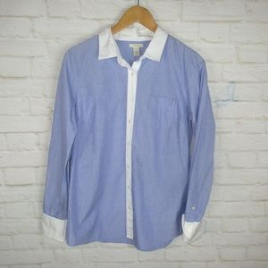 J.Crew size 10 Blue and White Collared Shirt